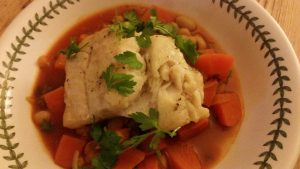 seasonal recipe. Coley sweet potato stew